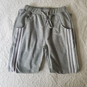 Pants - Gray joggers with white stripes